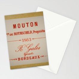 Vintage 1863 Mouton Bon de Rothschild Bordeaux Wine Bottle Label Print Stationery Cards