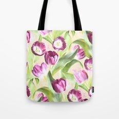 Deep Magenta Tulips on Creamy Peach Tote Bag