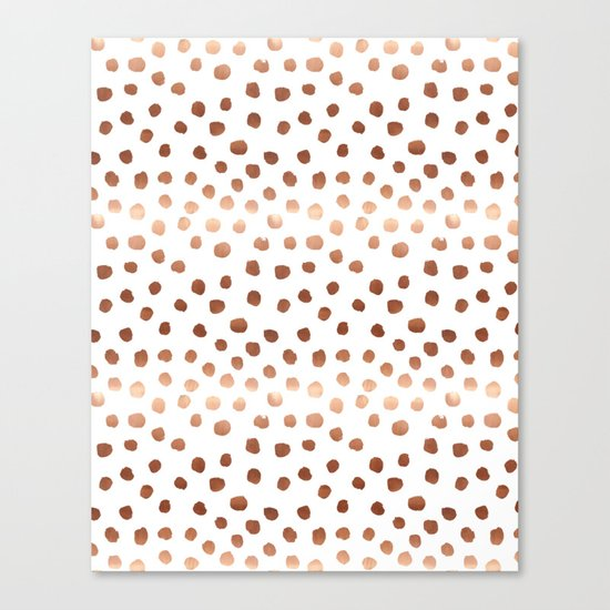 Rose Gold copper sparkle modern dots polka dots rosegold trendy pattern cell phone accessories Canvas Print