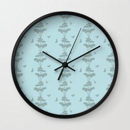 Birds And The Giant Tree - Blue/Gray Wall Clock