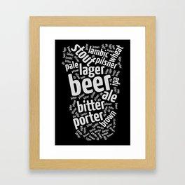 Beer Glass Word Framed Art Print