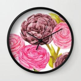 Ranunculus + Peonies Wall Clock