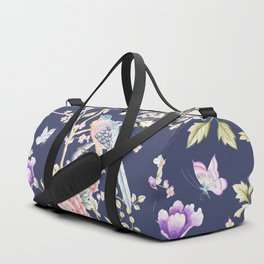 Chinoiserie Flowers and Birds Pattern Duffle Bag