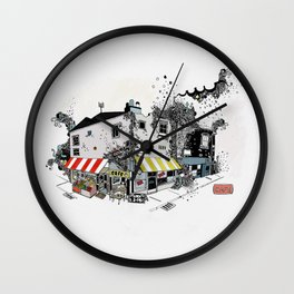Street view pen drawing London illustration Wall Clock