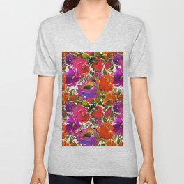 Colorful hand painted watercolor botanical floral Unisex V-Neck