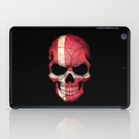 denmark iPad Cases featuring Dark Skull with Flag of Denmark by Jeff Bartels