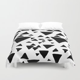 Black white hand painted geometric triangles Duvet Cover
