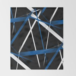 Seamless Blue and White Stripes on A Black Background Throw Blanket