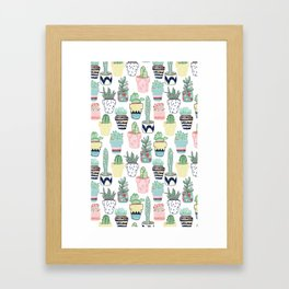 Cute Cacti in Pots Framed Art Print