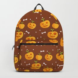 Happy halloween pattern with pumpkins and bones Backpack