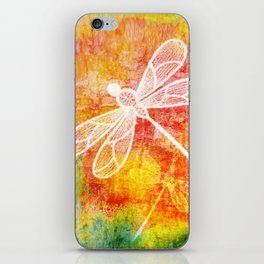 Dragonfly in embroidered beauty iPhone Skin