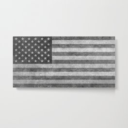 American flag - retro style in grayscale Metal Print