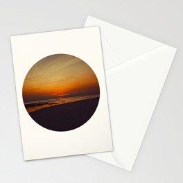 Mid Century Modern Round Circle Photo Graphic Design Orange Sunset Above Beach Stationery Cards
