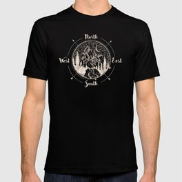 Mountains Compass Milky Way Woods Gold T-shirt