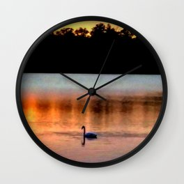 Swan Sunset Wall Clock
