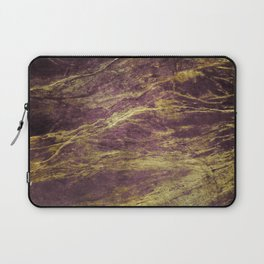 Classic Vintage Eggplant-Plum Faux Marble With Gold Veins Laptop Sleeve
