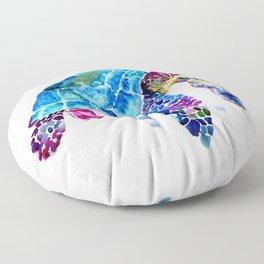 Sea Turtle, Blue Purple Turtle illustration, Sea Turtle design Floor Pillow
