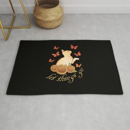 Sunflower cats inspiration for romantics in love Rug