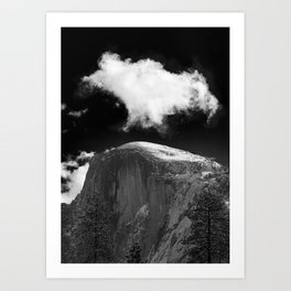 Half Dome Looms on a Cold Spring Day and a Cloud Grows on the Updraft Art Print
