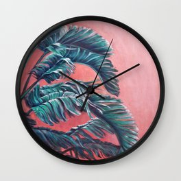 Palm Leaves_Oil on wood Wall Clock
