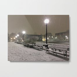 Romantic Seattle Snow At Night Metal Print