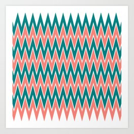 Coral Pink and Teal Zigzag Pattern Art Print