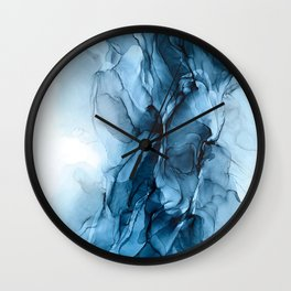 Deep Blue Flowing Water Abstract Painting Wall Clock