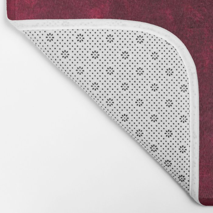 Elegant white Vintage Lace with pearl and ribbon on dark red grunge backround Bath Mat