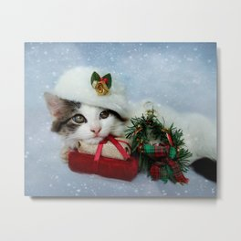 Christmas Kitten in the Snow Metal Print
