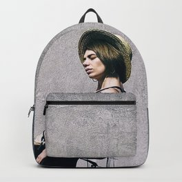 top model with hat Backpack