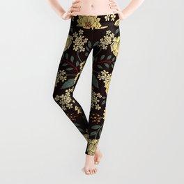 Teal, Cream, Red, Orange & Brown Flowers - Pretty Floral Pattern Leggings