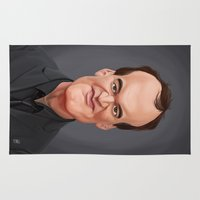tarantino Area & Throw Rugs featuring Celebrity Sunday ~ Quentin Tarantino by rob art | illustration