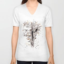 Squirrel in the Old Tree Unisex V-Neck