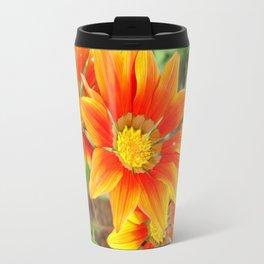 Vibrant Yellow and Vermillion Gazania Rigens Flower Travel Mug