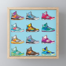 Colorful Sneaker set illustration blue illustration original pop art graphic print Framed Mini Art Print