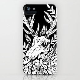 Animal Skull Deer Foliage Memento Mori Goth Witchy iPhone Case