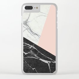 Black and White Marble with Pantone Pale Dogwood Clear iPhone Case