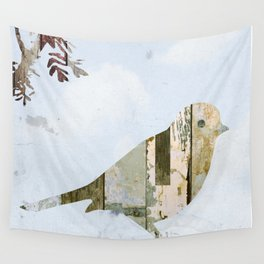 Reclaimed Wood Bird Wall Tapestry