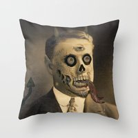 satan Throw Pillows featuring Satan by Beery Method