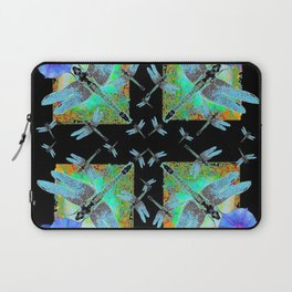 BLUE MORNING GLORIES & DRAGONFLIES BLACK ART Laptop Sleeve