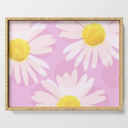 Flowers and dots on a pink background - lovely summery - #daisy #society6 #buyart Serving Tray