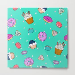 Sweet desserts pattern Metal Print