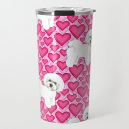 Bichon Frise Valentines Day Hearts in pink and red // Ideal valentines gift for Bichon Mom Travel Mug