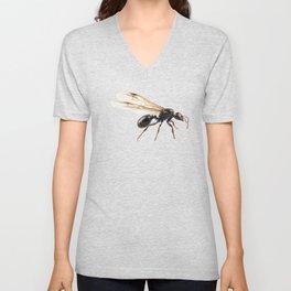 Black Winged garden ant species lasius niger Unisex V-Neck