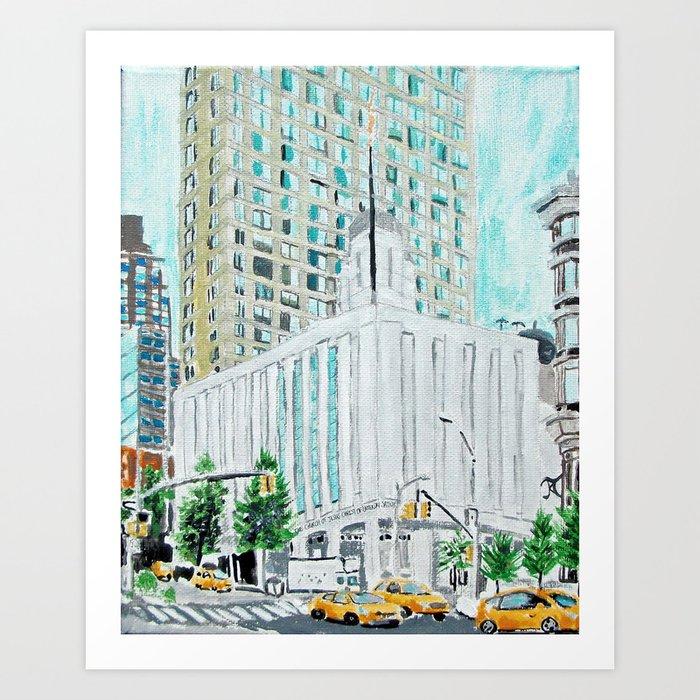Manhattan New York Lds Temple Stylized Art Print By Bekablo Society6