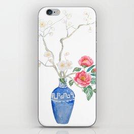 red camellia  flower white plum flower in blue vase iPhone Skin