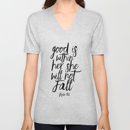 Psalm 46:5 God Is Within Her She Will Not Fall, Nursery Girls,Gift For Her,Bible verse,Scripture Art Unisex V-Neck