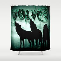 wolves Shower Curtains featuring WolveS by shannon's art space