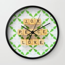 Joy Peace Love Wall Clock