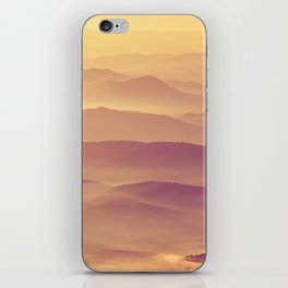 Sunset Rolling Foggy Hills Landscape Photograph iPhone Skin